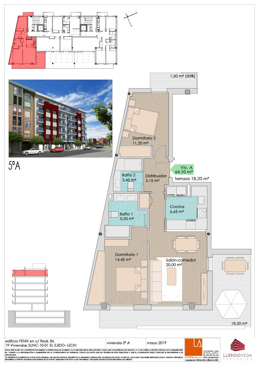Apartamento dos habitaciones en ático 5A
